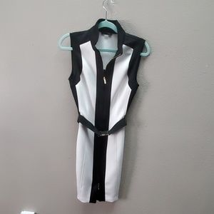 Belted Front Zip Up Dress